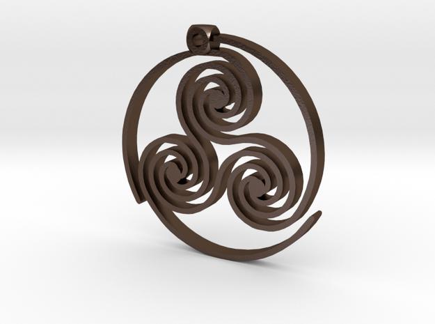 Triskelion Pendant in Polished Bronze Steel