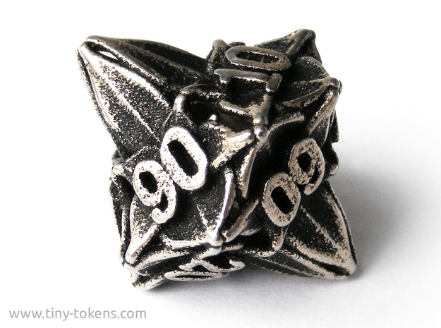 Floral Dice – 10D10 Gaming die (decader) in Polished Bronzed Silver Steel