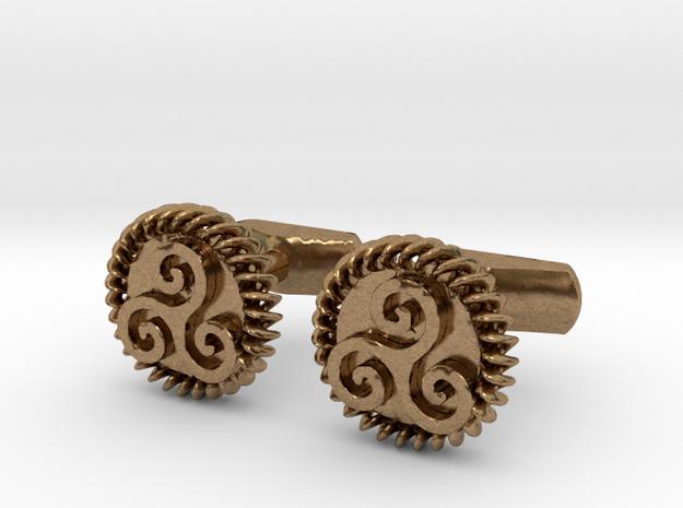 Triskelion Cufflinks in Natural Brass