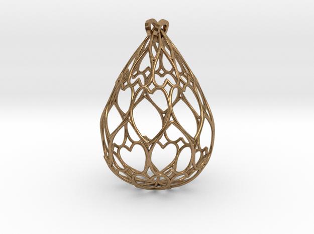 Filigree Drop Pendant in Natural Brass
