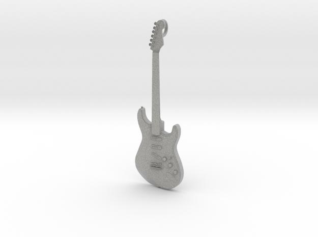Stratocaster Guitar Pendant in Metallic Plastic