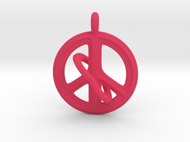 08- PEACEHEART-INTERLOCKING in Pink Processed Versatile Plastic: Small