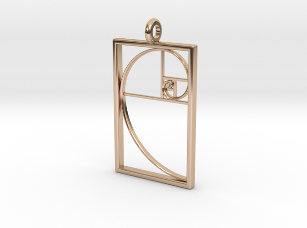 Golden Spiral Pendant #1 in 14k Rose Gold Plated Brass