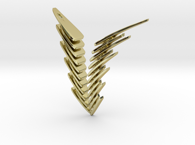 Fly To Heaven...with Melancholy. Stylized Pendant in 18k Gold Plated Brass