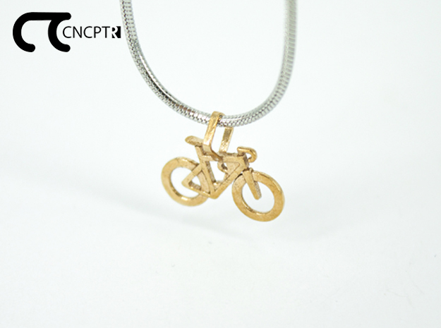 Concept R Racing Bike Pendant in Natural Bronze