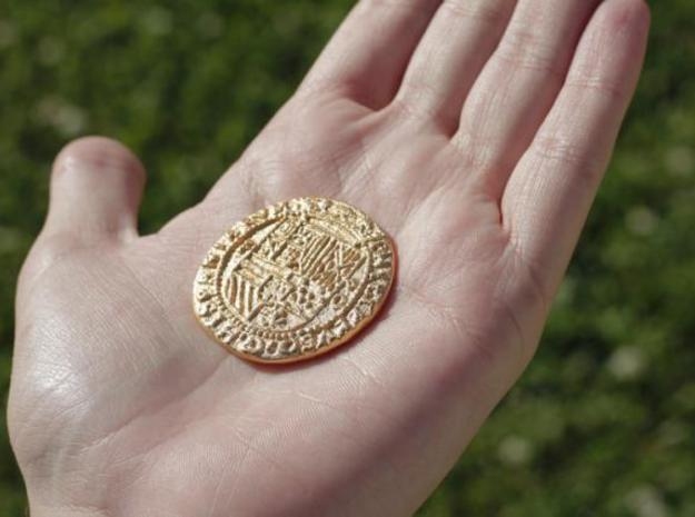Uncharted: Spanish Gold Coin 3d printed Just showing the size of the coin in relation to my hand