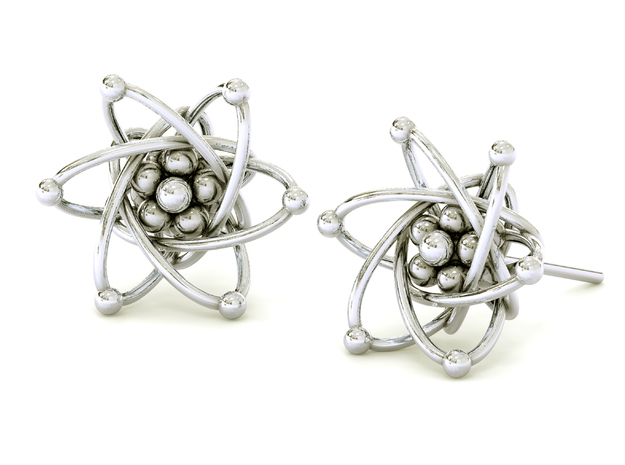 Carbon Atom Stud Earrings in Raw Silver