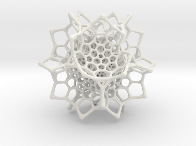 Christmas tree decoration ornament - 120cell_B1_r5 in White Natural Versatile Plastic: Small