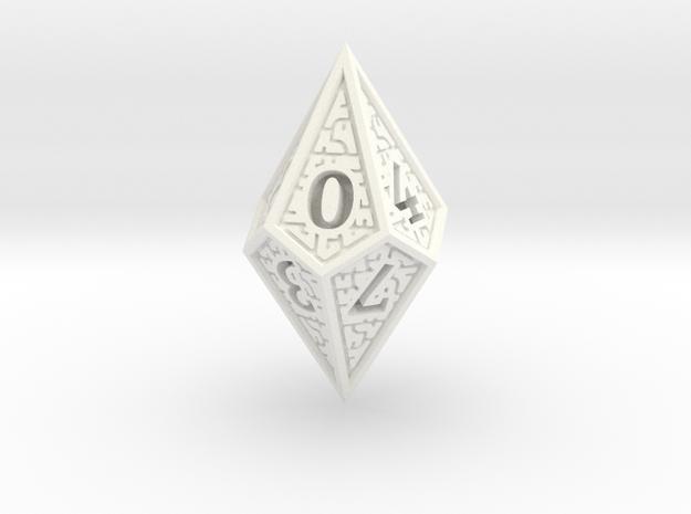 Hedron D10 (Solid), balanced gaming die in White Processed Versatile Plastic