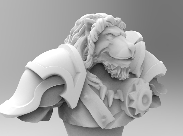 Lion Gladiator Bust in White Strong & Flexible: Medium