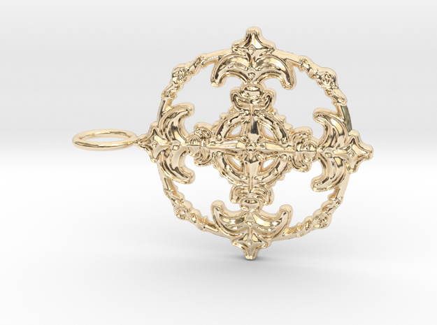 Croix Fleur de Lys baroque cercle3 in 14K Yellow Gold