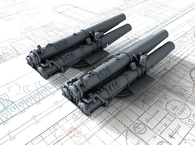 "1/350 V & W Class Destroyer Triple 21"" Tubes x2 in Smoothest Fine Detail Plastic"