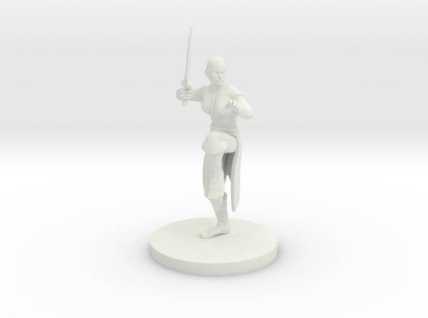 Female Sword Monk in White Natural Versatile Plastic