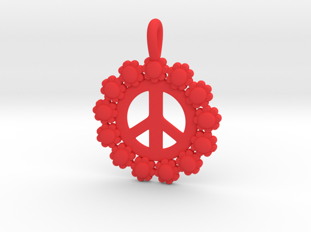 13- Daisy Circle/ Peace Sign in Red Processed Versatile Plastic: Small