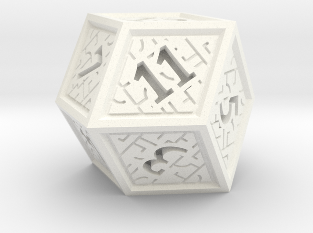 Hedron D12 (Solid), balanced gaming die in White Processed Versatile Plastic