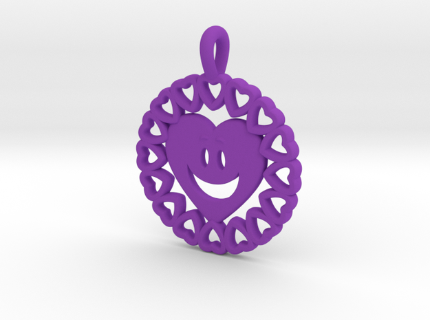 16-  HEART CIRCLES - HEART FACE   in Purple Processed Versatile Plastic: Small