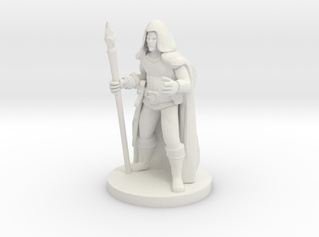 Male Elf Sorcerer with  Diamond Staff in White Natural Versatile Plastic
