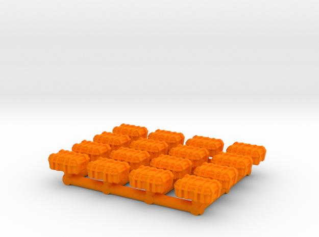 1/87 Scale Explosive Cases x16 in Orange Processed Versatile Plastic