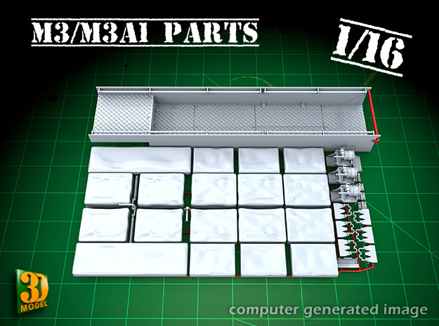 M3/M3A1 halftrack parts (1/16) in Smooth Fine Detail Plastic