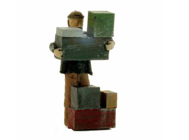S Freight Worker Stacking Boxes Figure in Smooth Fine Detail Plastic