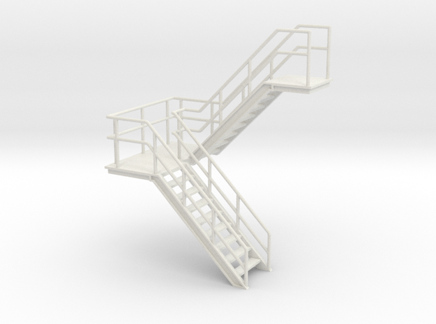 O Scale Stairs 76mm in White Natural Versatile Plastic