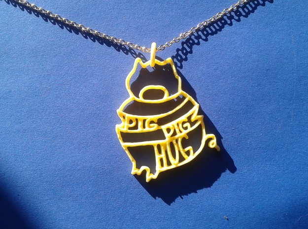 Pig Pig Hug in Yellow Strong & Flexible Polished