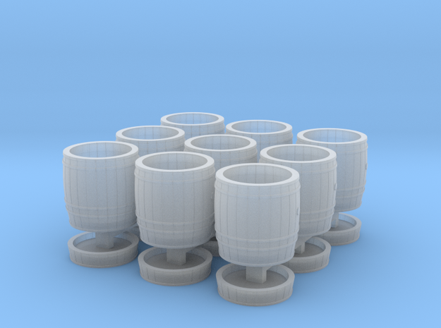 9 wooden barrels HO scale in Smooth Fine Detail Plastic