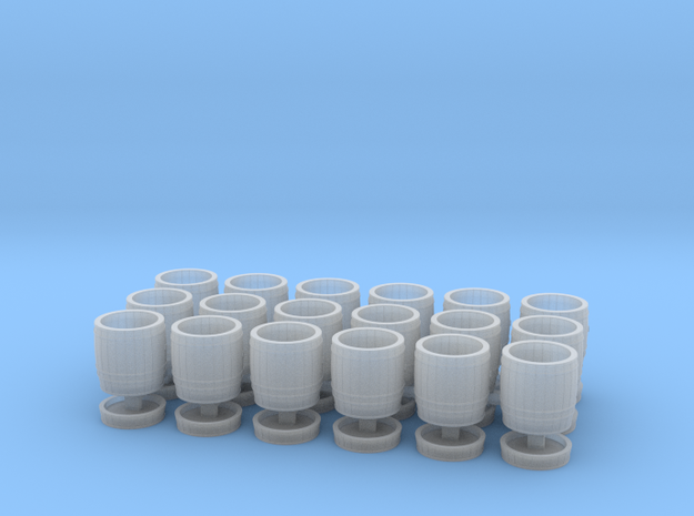 18 wooden barrels HO scale in Smooth Fine Detail Plastic