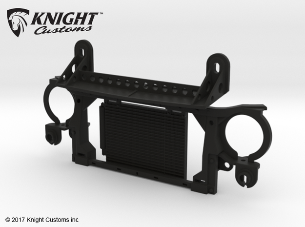 AJ30003 Radiator & Body Mount ONLY (Axial SCX10) in Black Natural Versatile Plastic