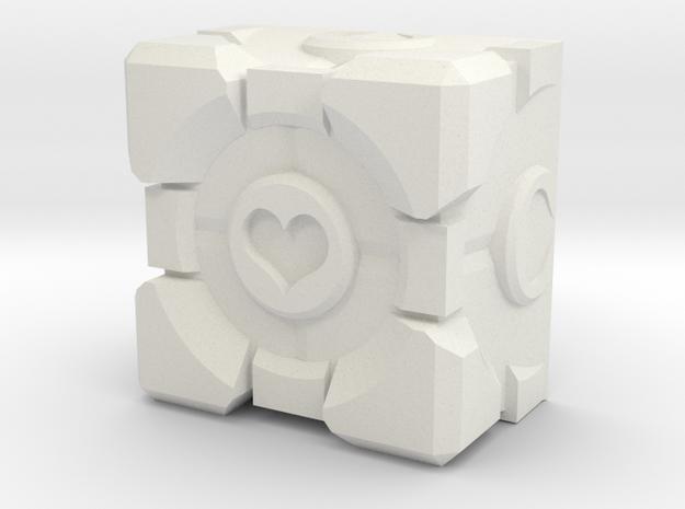 Companion Cube Cherry MX Keycap in White Natural Versatile Plastic