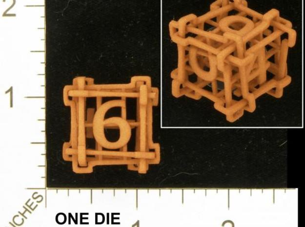 Interlocked Die (Small) 3d printed Photo by Kevin Cook in an early, unpolished, orange strong and flexible.