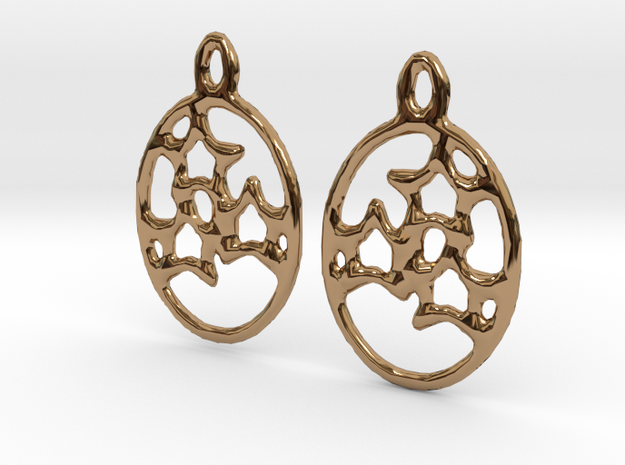 Oval 3 Star Earrings (pair) in Polished Brass
