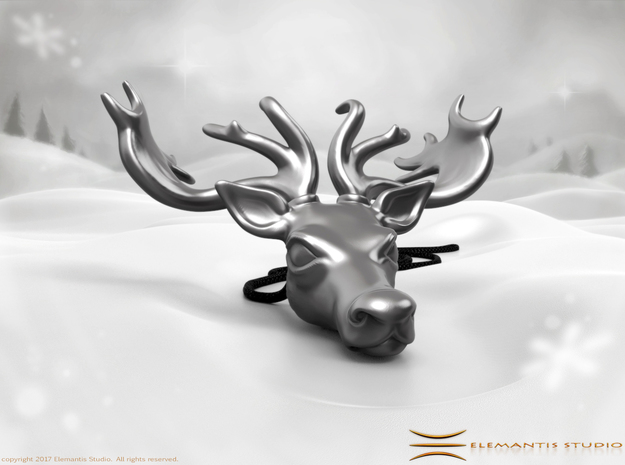 Reindeer Pendant in Polished Bronzed Silver Steel: Small