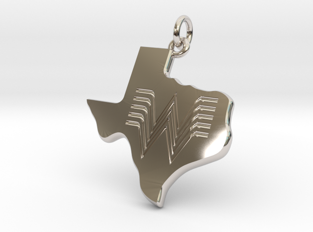 Whataburger Texas Pendant Charm 35mm in Rhodium Plated Brass