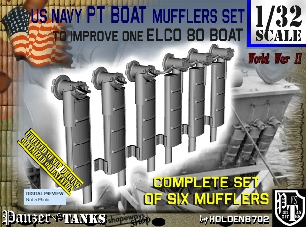 1/32 Elco PT Boat Mufflers Set001 in Frosted Ultra Detail