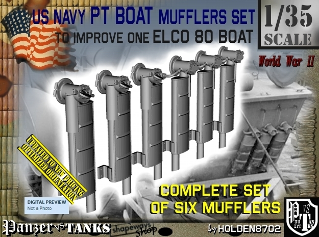 1/35 Elco PT Boat Mufflers Set001 in Frosted Ultra Detail