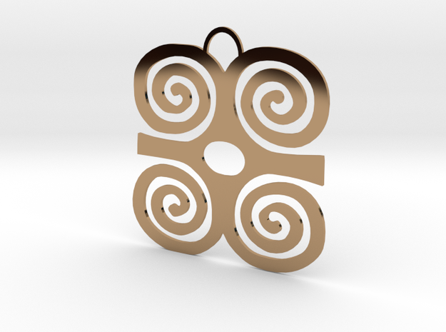 Adinkra Symbol of Strength Pendant in Polished Brass