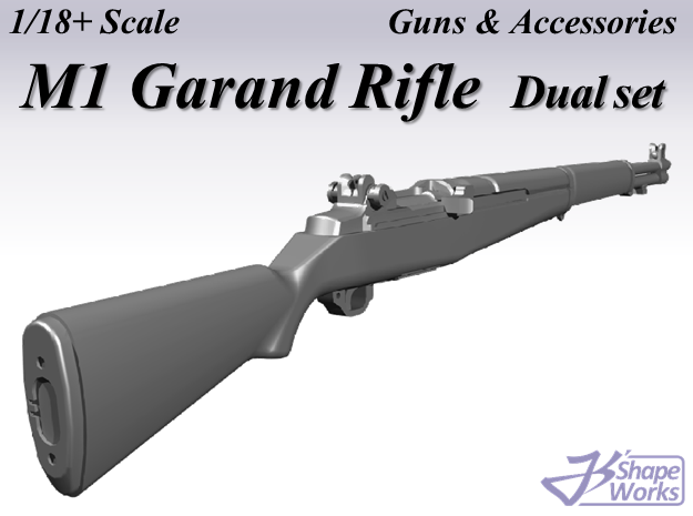 1/18+ M1 Garand Rifle Dual set in Smoothest Fine Detail Plastic: 1:18