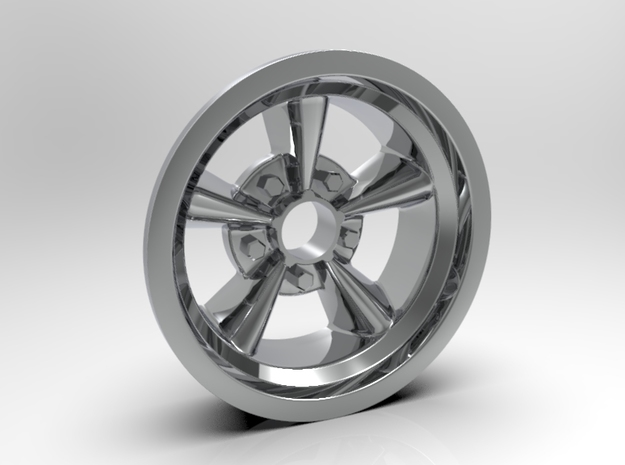 1:25 Front American Five Spoke Wheel in White Strong & Flexible Polished