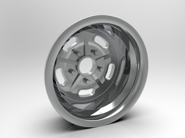 1:8 Rear Halibrand Style Salt Flat Wheel in White Strong & Flexible Polished