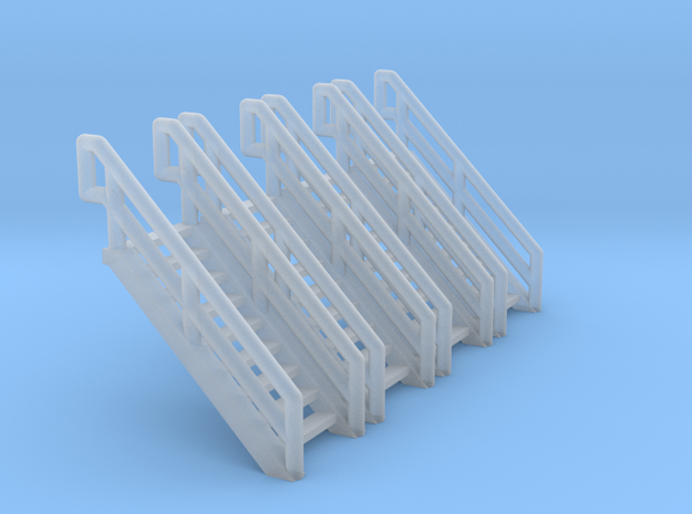 Z Scale Industrial Stairs 9 (4pc) in Smooth Fine Detail Plastic