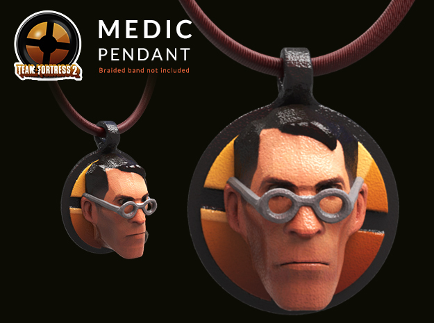 Team Fortress Medic Keychain | pendant in Glossy Full Color Sandstone