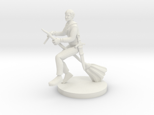 Bard on a  Broom in White Natural Versatile Plastic