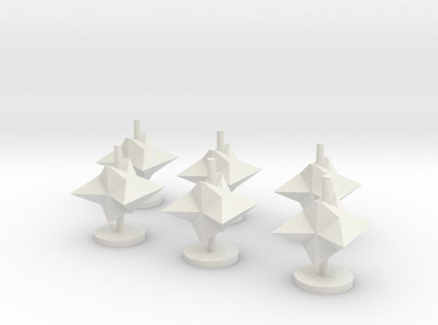 3D Mine Tokens - Mine Type A in White Natural Versatile Plastic