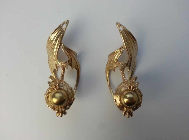 LUX DRACONIS earring pair   in Natural Brass