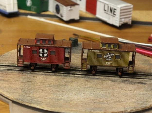 Bobber Caboose - Zscale 3d printed Floor added, Painting and Photo by  John Kellet