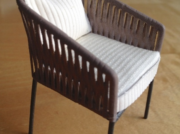 1:12 Chair Braided for patio or inside in White Strong & Flexible Polished