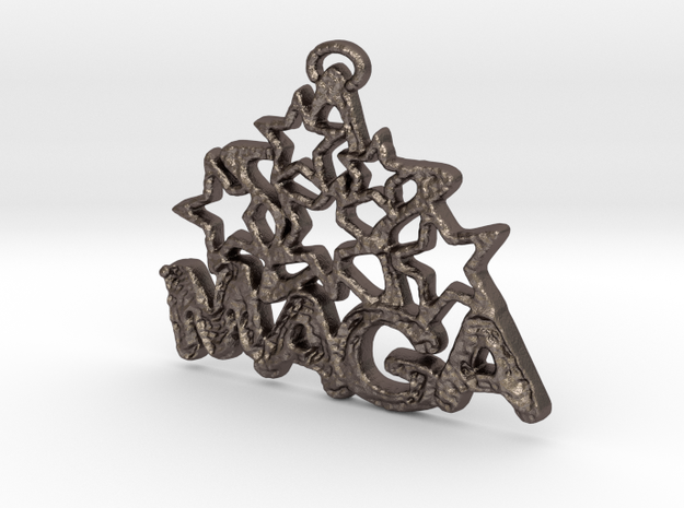 MAGA & Stars Pendant in Polished Bronzed Silver Steel