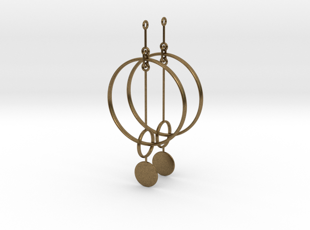 Interlinked Rings Earrings in Interlocking Raw Bronze