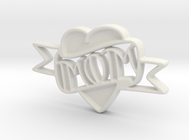 Creator Heart Pendant in White Strong & Flexible